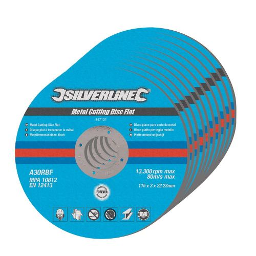 10 Pack Silverline 447131 Metal Cutting Discs Flat 115mm x 3mm x 22.23mm